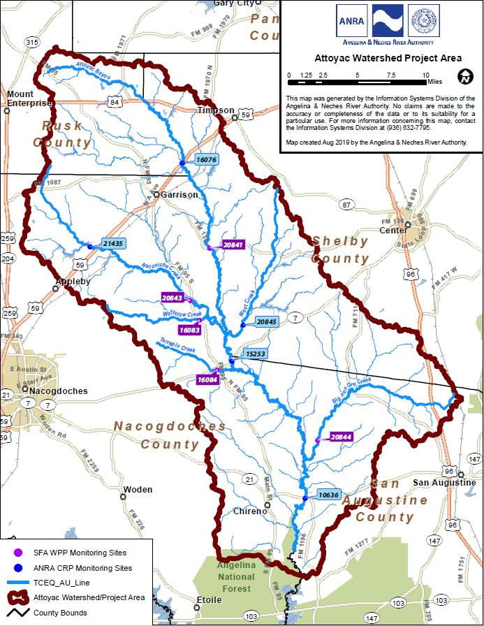 Attoyac Watershed Map